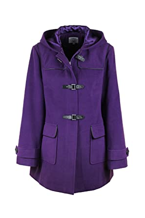 New Ladies Women Wool Hooded Hip Length Duffle Coat Purple: Amazon