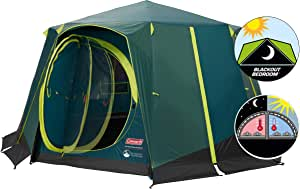 Coleman Tent Octagon, 6 Man Festival Dome Tent, 6 Person Family Camping Tent with 360° Panoramic View, Stable Steel Pole Construction, Sewn in