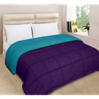 Urban Basics Purple/Ocean Blue Ultra Soft 200 GSM Microfibre Reversible Double Bed King Size AC Comforter for Home & Bedroom (90 in x 100 in)