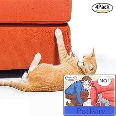 PetIsay Möbelschoner von Katzen (4 Stück), Selbstklebende Bögen mit Drehstiften, Katzenabwehr für Möbel - Kratzschutz - Katzenmöbel - Kratzschutz (46 L x 20,5 cm)