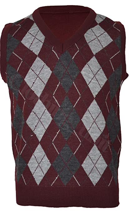 VS1 Mens Argyle V Neck Sleeveless Sweater Jumper Tank Top Jersey ...