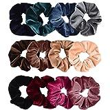 Whaline Premium Haargummis Velvet, Elastics Scrunchies Samt, Bobbles Weiche Haarbänder, Haarschmuck für Mädchen Frauen (12 Farben)