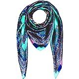 Lorenzo Cana – Marchio di stoffa di seta 100% seta con ornamento Turchese modello Rosa blu Panno donna 100 cm x 100 cm – 8900