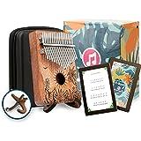 Coffret Mindozik™ Kalimba 17 clés Instrument musique - Piano à pouce/doigt - Cadeau original relaxation - Gravure florale tro