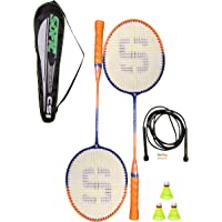 SHIVGAN Goplay Badminton Racket Set of 2 with Free 1 Skiping Rope & 3 Pieces Nylon shuttles with Good Looking Fancy…