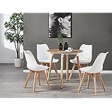 Life Interiors Table Ronde Effet Chêne + 4 Chaises Scandinaves - Ensemble pour Salle à Manger ou Cuisine (Blanc)