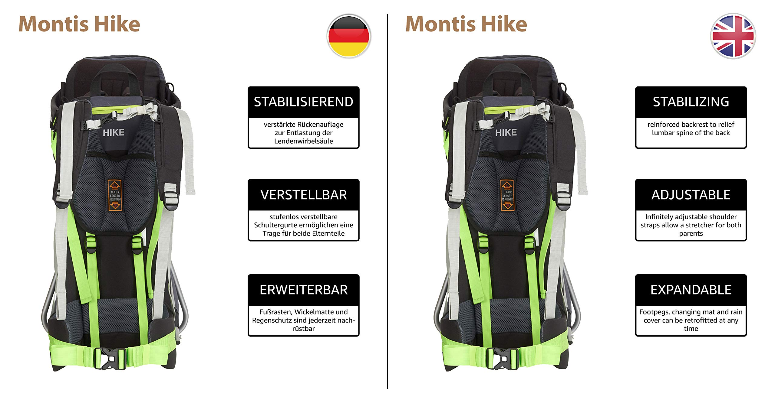 MONTIS HIKE, Premium Back Baby/Child Carrier, Up to 25kg, (black) M MONTIS OUTDOOR 89cm high, 37cm wide | up to 25kg | various colours | 28L seat bag Laminated and dirt-repellant outer material | approx. 2.2kg (without extras) Fully-adjustable, padded 5-point child's safety harness | plush lining, raised wind guard, can be filled from both sides | forehead cushion 6