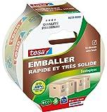 Tesa Emballer Adhésif de Fermeture PP Rapide et très Solide Ecologique Transparent 40m x 50mm