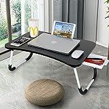 Astoryou Bureau pour Ordinateur Portable avec tiroir, Plateau de lit pour Ordinateur Portable Portable Table pour Ordinateur