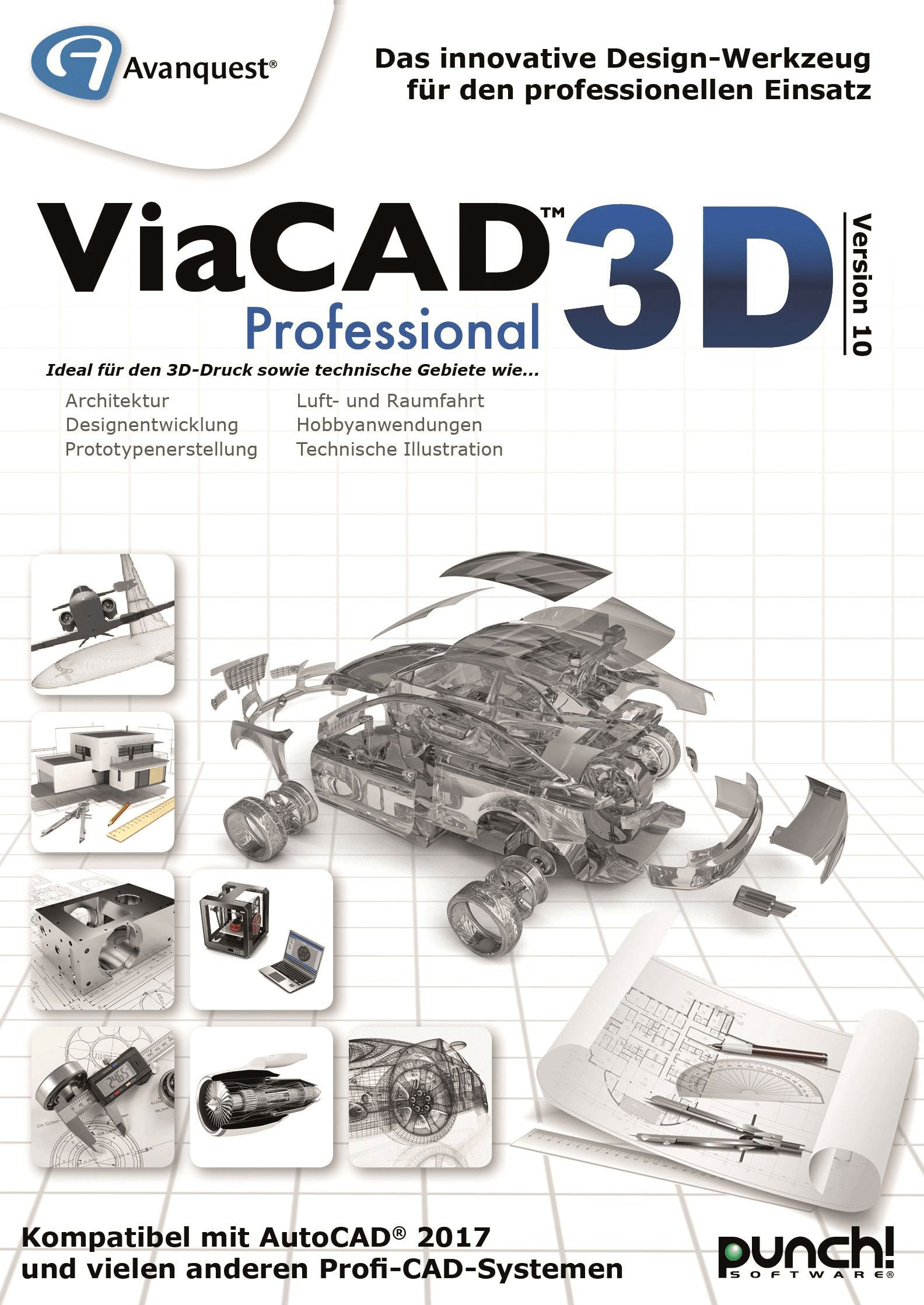 ViaCAD 3D Professional 10 - Fortgeschrittenes CAD-Design: 3D Modellierung, Prototyping und fotorealistische Renderings! Windows 10, 8, 7, Vista - Mac OS 10.12, 10.11, 10.10, 10.9, 10.8 (64-bit) [Download]