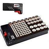 Batterij organizer, batterijen opbergkoffer bevat 110 batterijen van verschillende groottesleuf voor AAA, AA, 9V, C, D en kno