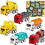 HERSITY 6 Piezas Camiones de Construcción con Tapete de Juego y Camiones de Basura y Excavadora Volquete Grúa Juguete Educati