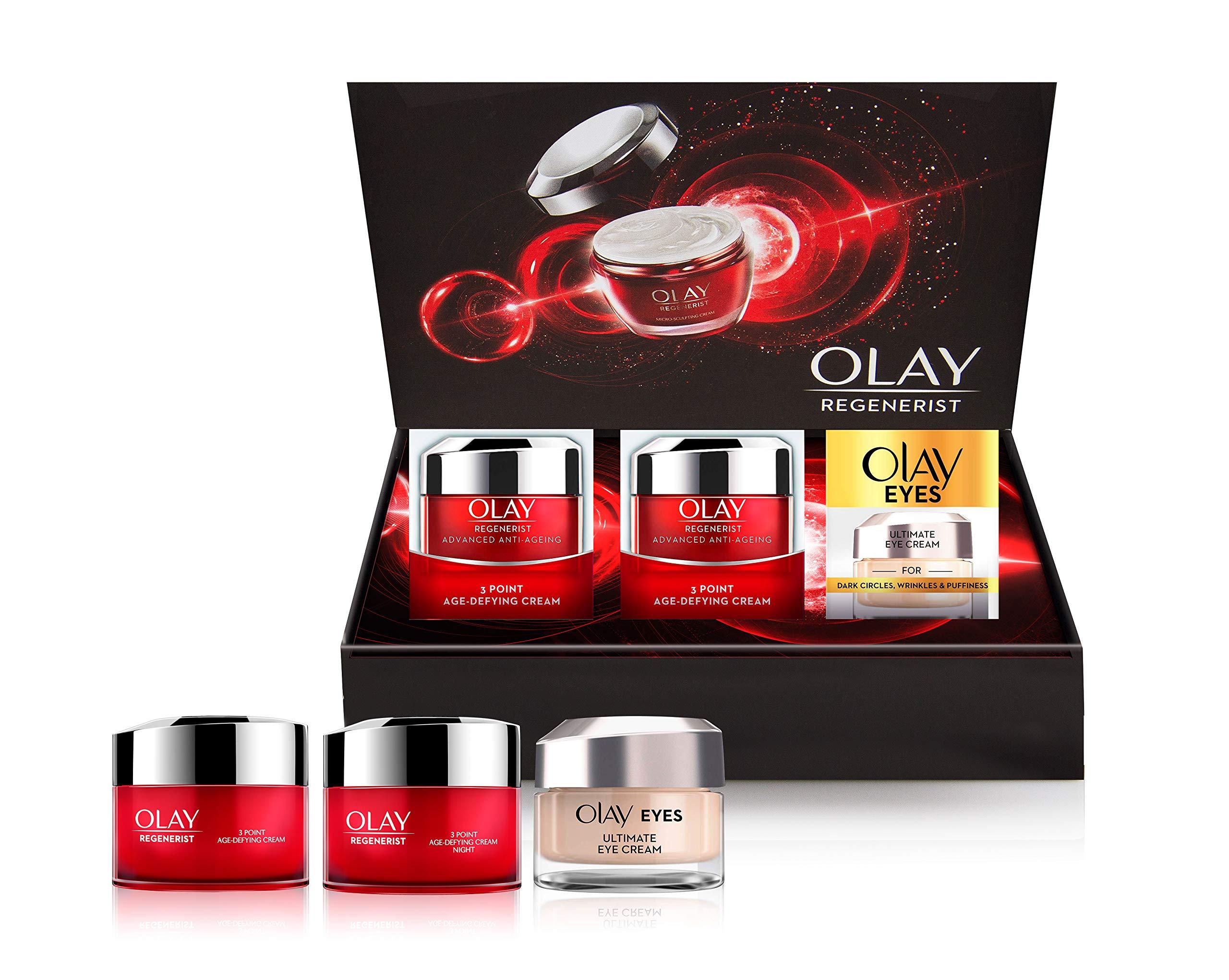 Olay Regenerist – Regalo antienvejecimiento de 3 puntos: día, noche, ojo