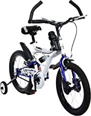 MAD MAXX Steel Shocker Road Kids Cycle, 16 inches (White/Blue) for 5 to 7 Years Child