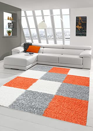 Shaggy Carpet Long Pile Living Room Patterned In Karo Design Orange Grey Cream Size 60x110 Cm Amazoncouk Kitchen Home