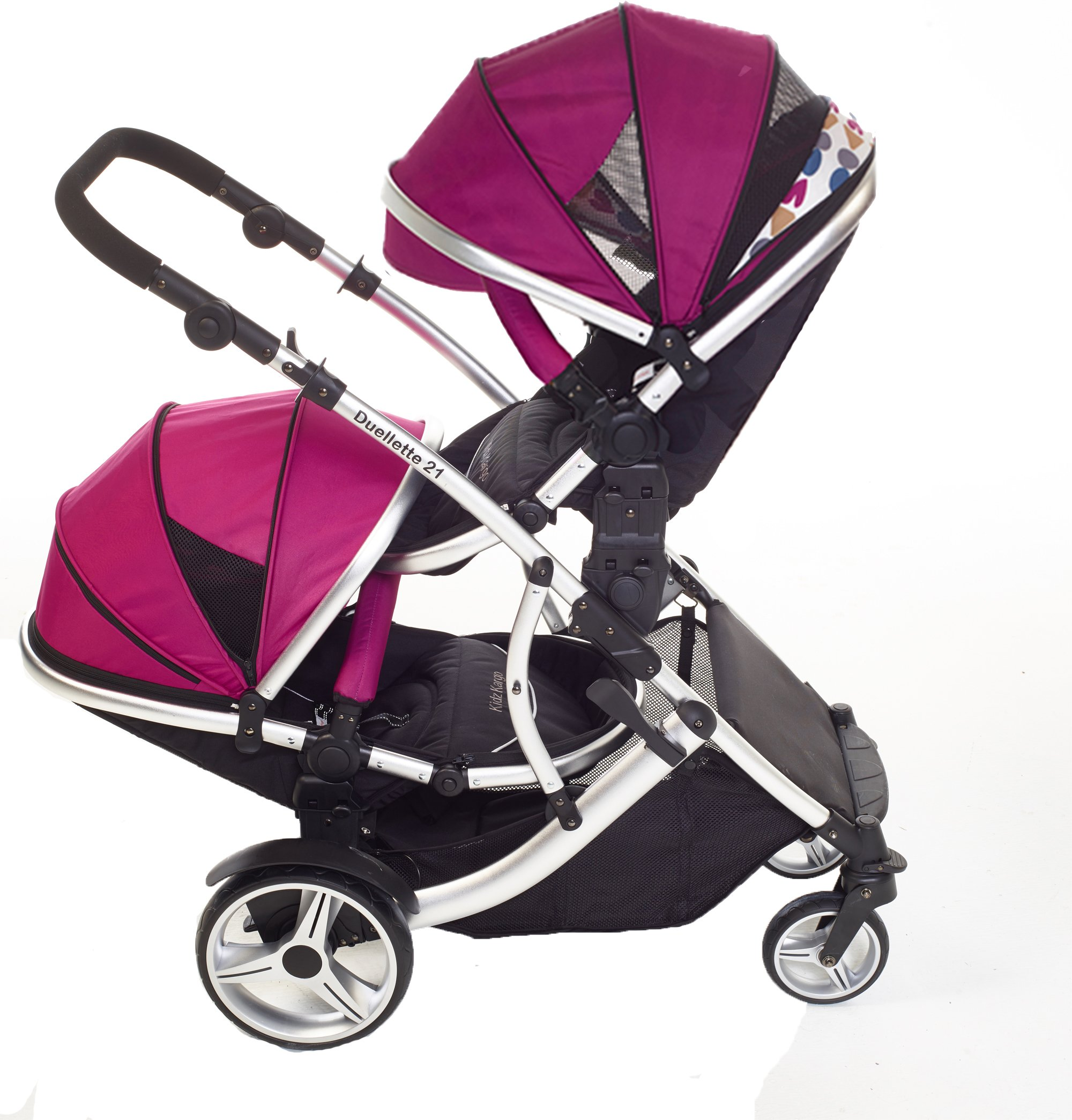Kids Kargo Double Twin Tandem Pushchair. Duellette Combi Suitable from birth, Carrycot converts to toddler seat unit. Stroller by Kids Kargo (Dooglebug Raspberry)  Versatile. Suitable for Newborn Twins Compatible with car seats; Kidz Kargo, Britax Baby safe or Maxi Cosi adaptors. carrycots have mattress and soft lining, which zip off. Remove lining and lid, when baby grows out of carrycot mode, converts to seat unit 7