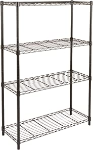 AmazonBasics height adjustable 4-Shelves heavy duty rack- Black