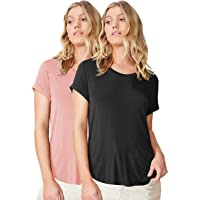 Fabricorn Combo of Plain Color Up and Down Cotton Tshirt for Women