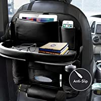 EYUVAA LABEL PU Leather Car Back seat Organizer with Foldable Dining Table Tray Waterproof Storage Pockets with Tablet…