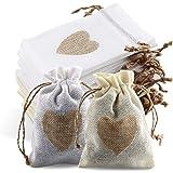 24Pcs Sachets en Toile de Jute Pochettes avec Cordon et Motif de Coeur, Sac Cadeau de Bonbons, Jute Pochette Baptême Sac, Mar