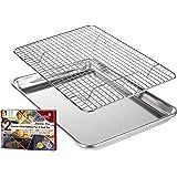 KITCHENATICS Plat à rôtir et à pâtisserie en Aluminium avec Grille en Acier Inoxydable: Plat à Biscuits avec Grille de Refroi
