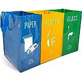 NORGGO Pack de 3 Bolsas Reciclaje Basura Colores | Contenedor Reciclaje para Papel, Vidrio y Plástico | Reciclaje Basura 3 cu