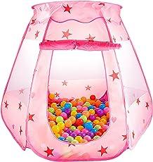 Tenda da gioco Bambini Principessa Pop Up Pieghevole Piscina di Palline Casetta per interno ed esterno Utilizzo - Rosa