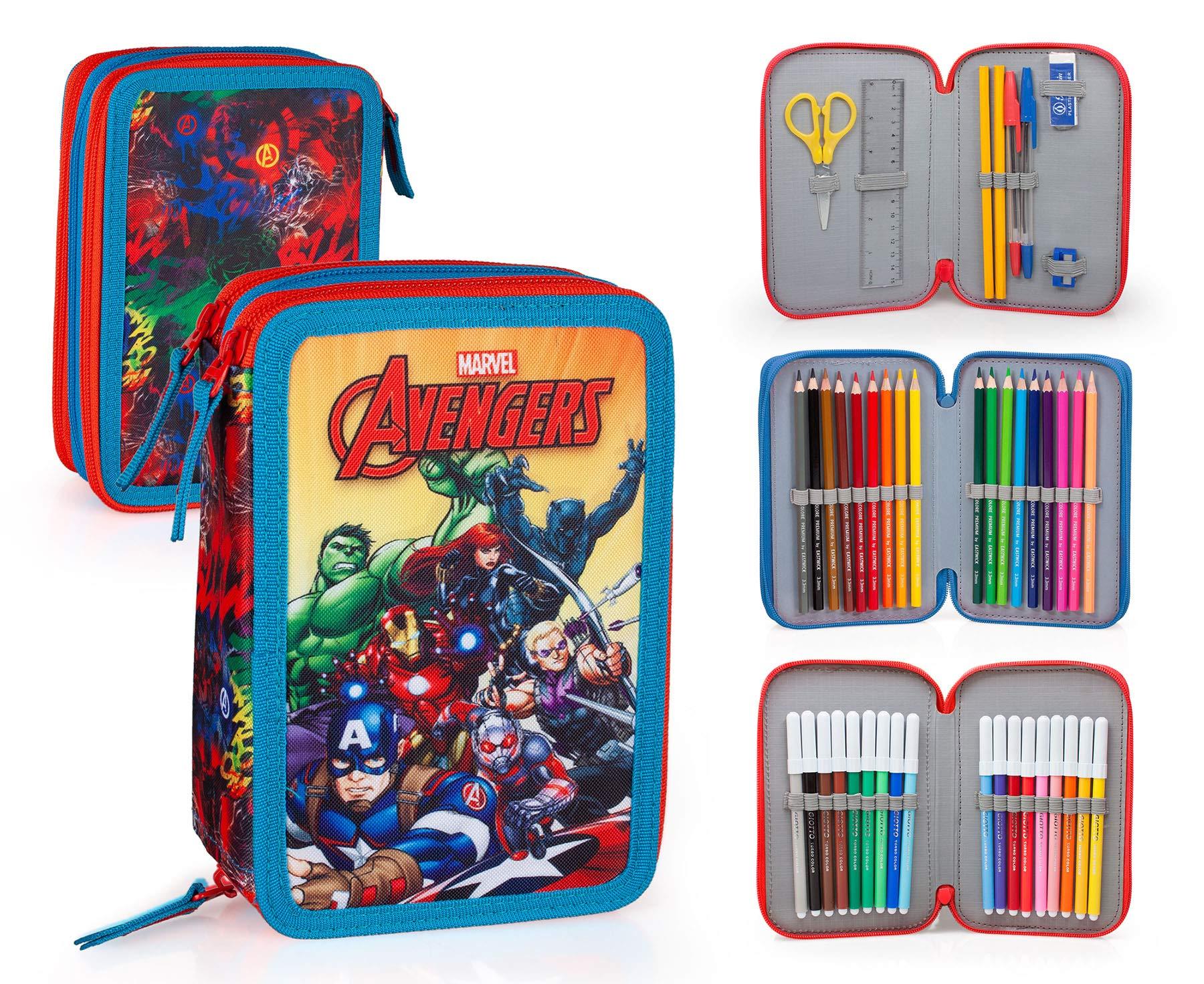 Marvel Vengadores 63234 Estuche 3 bisagras, Plumier Triple, 44 Piezas