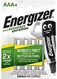 Energizer Wiederaufladbare Batterien AAA, Recharge Universal, 4 Stück