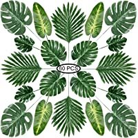PietyPet Tropical Luau Party Décoration Fournitures, 60 Pcs 5 Genres Feuilles De Palmier Artificielle avec Tige…