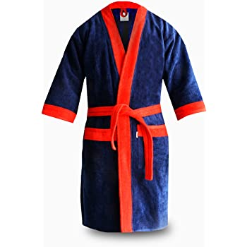 Loomkart Very Fine Export Quality Bath Robes in Blue with Red Very Soft  Velvet Finish in Avioni Zip-Packing- Standard Size 611a52ac5