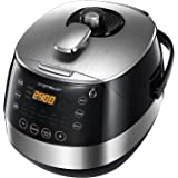 Aigostar Happy Chef 30IWY - Multicuiseur 7 en 1, 900W, 15 fonctions programmables avec grand écran LED incliné, minuterie et fonction maintien au chaud. Récipient anti-adhésif de 5 litres avec poignée