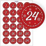 24 Advents-Aufkleber rot komplett Zahlen f/ür Adventskalender