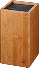 WMF 1880509999 Messerblock, ohne Messer, aus Bambus unbestückt leer, für 5-6 Messer, mit Kunststoff-Bürsteneinsatz, 12 x 12 x 24 cm