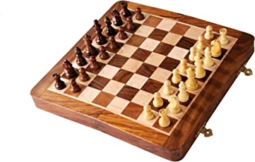 S&G Wooden Handcrafted Folding Chess Set with Magnetic Pieces, 12-inch (Brown)