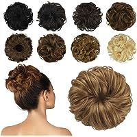 FESHFEN 100% Chignon Capelli Veri, coda capelli veri mossi ricci elastico con capelli chignon facile per capelli…