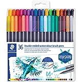 STAEDTLER 3001 TB36 Duo fiberpenna (fin spets och penselspets, för akvarell-effekter) klart vikbart fodral med 36 lysande fär