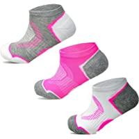Socksology® 3 Pairs Womens Ankle Athletic Running Socks Low Cut Sports Heel Tab No Show Sock SIZE UK 4-8 (3 Pairs, Grey…