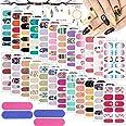 Kalolary 24 stks volledige wraps nagellak stickers, zelfklevende nail art stickers strips glitter gradiënt volledige nail wra