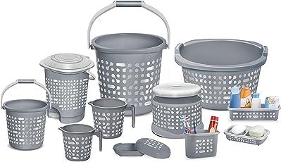 Milton Dumbells Plastic Clean Up Bathroom Bathing Set of 11pcs, Grey