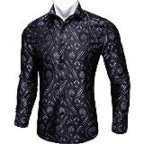 Barry.Wang New Men Shirts,Paisley Flower Woven Silk Dress Shirt Long Sleeve Big and Tall