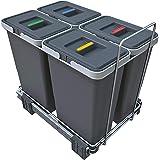 Elletipi ECOFIL PF01 34B3 Pattumiera Differenziata Estraibile per Base, 30x45x36 cm, 4 x 8 litri, Guide in metallo, Grigio