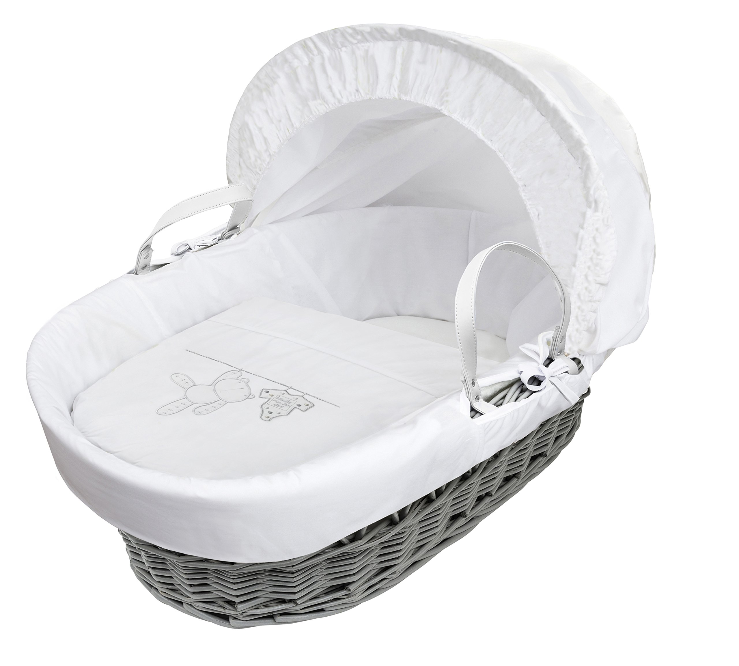 White Teddy Wash Day On Grey Wicker Moses Basket & Deluxe Dove Grey Rocking Stand Elegant Baby Suitable from newborn for up to 9kg, this Moses Basket uses Easy-care Poly Cotton with a soft padding surround Suitable from newborn to 9 months It also includes a comfortable mattress and an adjustable hood perfect to create a cosy sleeping space for your precious little one 2