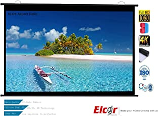 "ELCOR Map Type Projector Screen 5ft.x 9ft.-119"" Diagonal in 16:09 Aspect Ratio,HD-3D-4K Technology"