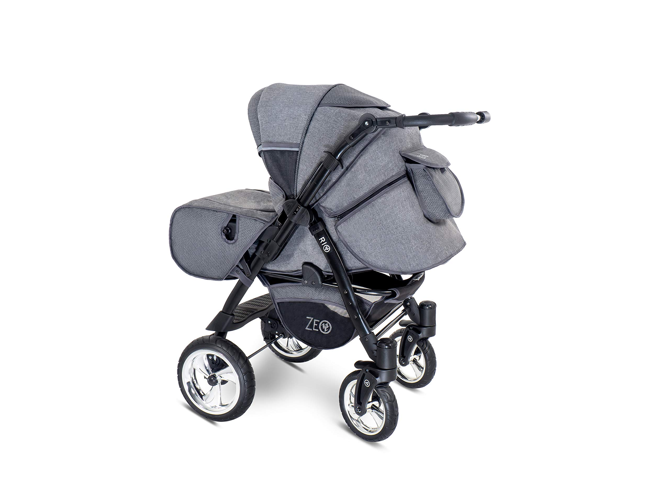 Baby Pram Zeo Rio 3in1 Set - All You Need! carrycot Gondola Buggy Pushchair car seat (R3) Zeo 3 in 1 combination stroller complete set, with reversible handle to the buggy, child car seat or baby carriage Has 360 ° swiveling wheels, two-fold suspension, four-stage backrest, five-position adjustable footrest and a five-point safety belt The stroller can be easily converted into other functions and easy to transport 4