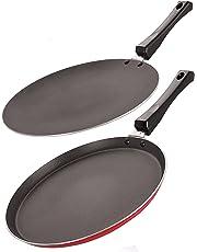 NIRLON Nonstick Cookware 3 Layer combo set of Roti Concave Tawa 28.5cm & Crispy Dosa Flat Tawa 27.5 cm (Aluminium,Red & Black)