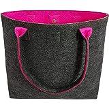 Tebewo Shopping-Bag aus Filz, große verschließbare Einkaufs-Tasche mit Henkel, Einkaufskorb, Handtasche groß, Schultertasche,