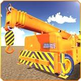 Grúa de cargador y construcción 3D