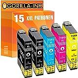 Gorilla-Ink 15 Cartucce d'inchiostro XXL compatibile con Epson T1811 -T1814 18XL | Adatto a Expression Home XP-30 XP-33 XP-10