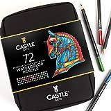 Castle Arts - Juego de 72 lápices de acuarela en estuche con cremallera para obtener grandes resultados, colores vivos de alt